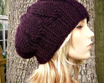 a1e0d251efe Knit Hat Purple Womens Hat - Urchin Beret Hat in Eggplant Purple Knit Hat - Purple  Hat Purple Beret Purple Beanie Womens Accessories