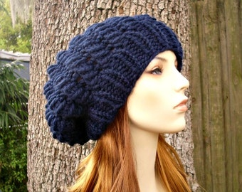 04b72f4d7d0 Knit Hat Womens Hat Slouchy Hat - Winter Cyclone Beret in Navy Blue Knit Hat  - Navy Blue Hat Navy Blue Beret Womens Accessories