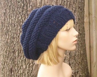 23f91bca6c9 Knit Hat Navy Blue Womens Hat - Original Beehive Beret Hat in Navy Blue  Knit Hat - Navy Blue Hat Blue Beret Blue Beanie Womens Accessories