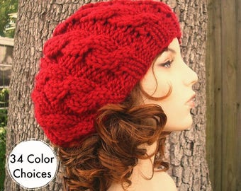 dea27e6ffb3 Knit Hat Red Womens Hat - Red Cable Beret Hat in Cranberry Red Knit Hat - Red  Hat Red Beret Red Beanie Womens Accessories