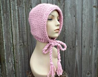 Fleur rose en tricot bonnet - chapeau aviateur rose rose Bonnet adulte -  rose tricot capuche liens torsadés - rose femmes chapeau rose chapeau  d hiver d48341b3907