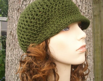 9d5de3901fe Green Womens Hat Green Newsboy Hat - Skater Boy Cap Olive Green Crochet Hat  - Green Hat Green Beanie Womens Accessories Winter Hat
