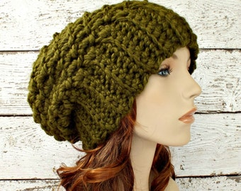 49bcd5f18d0 Crochet Hat Womens Hat Slouchy Beanie Slouchy Hat - Souffle Beret in Olive  Green Crochet Hat - Green Hat Womens Accessories Winter Hat