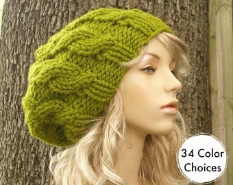 0af9ae30bd2 Knit Hat Womens Hat Slouchy Beanie - Cable Beret Hat in Lemongrass Green Knit  Hat - Green Hat Green Beret