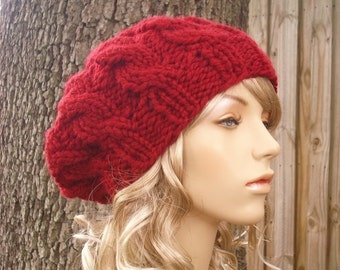 Cranberry Red Cable Beret - Knit Hat Womens Hat Red Slouchy Beanie - Red  Knit Hat Red Beanie Red Beret Red Hat 21b68d47fc5