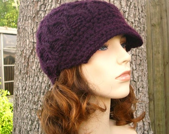 89769d47457c14 Womens Hat Purple Newsboy Hat - Amsterdam Cable Beanie with Visor in  Eggplant Purple Knit Hat - Purple Hat Purple Beanie Womens Accessories
