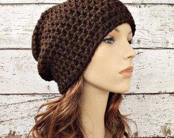 Brown Crochet Hat Brown Womens Hat Brown Mens Hat - Walnut Brown Slouchy  Beanie - Brown Hat Brown Beanie Womens Accessories Winter Hat 1ac99141b2a