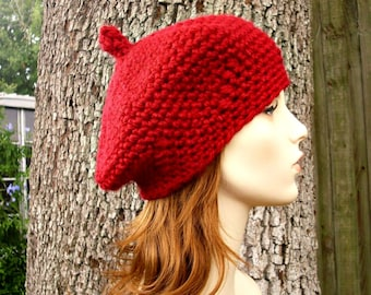 612f3917548 Red Womens Hat - Directors Beret in Cranberry Red Crochet Hat - Red Hat Red  Beanie Red Beret Womens Accessories Fall Fashion Winter Hat
