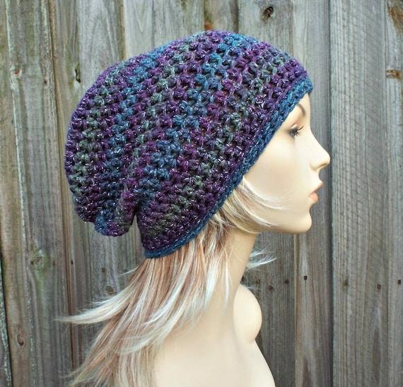 Crochet Hat Womens Hat - Slouchy Striped Beanie Hat in Aurora Purple Hat Blue Hat Metallic Hat Womens Accessories - READY TO SHIP