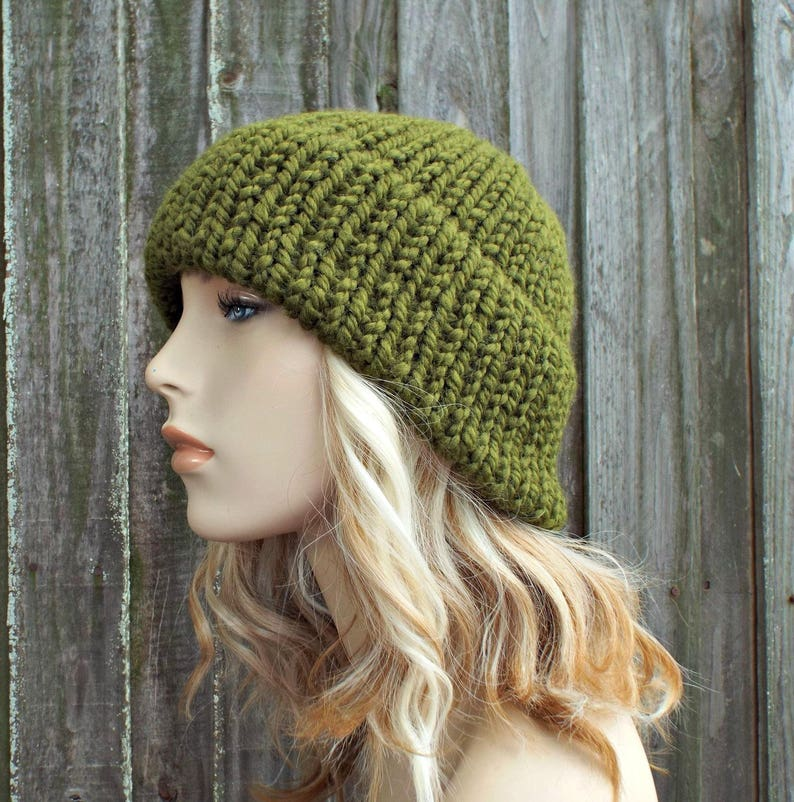 94bd789e292 Olive Green Mens Or Womens Double Thick Brim Knit Hat Warm