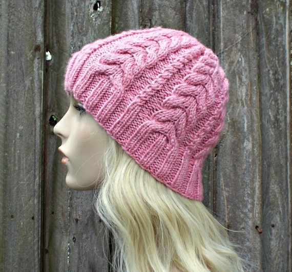 1f1064abed0 Pink Cable Beanie Pink Cable Hat Pink Hat Pink Beanie Pink