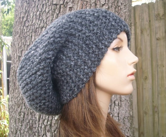 Grey Mens Hat Grey Womens Hat Slouchy Beanie - Slouchy Hat in Granite Grey Knit Hat - Grey Hat Grey Beanie Womens Accessories Winter Hat