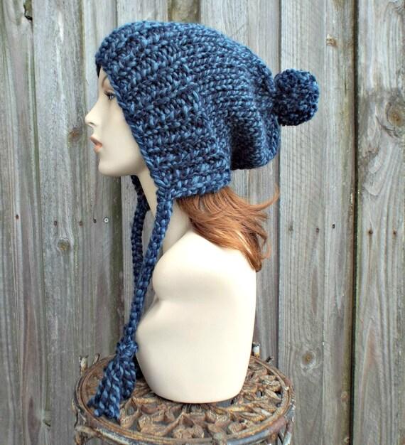 Mixed Blue Pom Pom Hat Slouchy Womens Ear Flap Knit Beanie - Charlotte - Blue Hat Blue Beanie