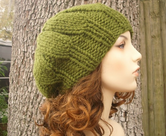 Knit Hat Green Womens Hat - Urchin Beret Hat in Olive Green Knit Hat - Green Hat Green Beret Green Beanie Womens Accessories