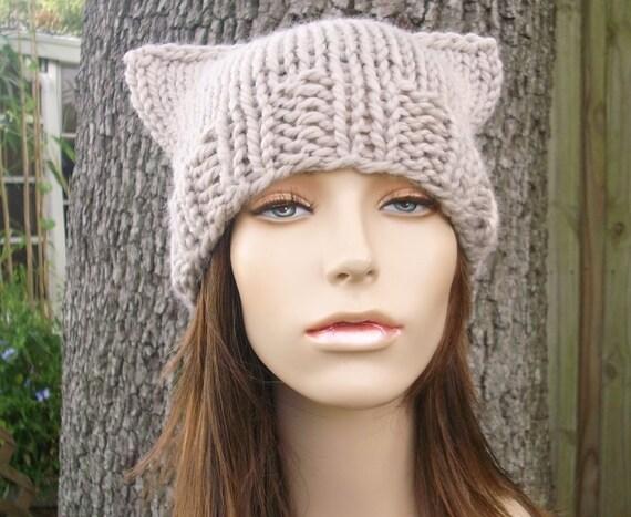 Knit Hat Womens Hat - Cat Beanie Hat in Cream Linen Knit Hat - Linen Hat Linen Beanie Cream Hat Cream Beanie Womens Accessories Winter Hat