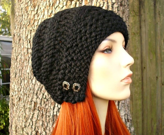Knit Hat Womens Hat - Hybrid Swirl Cloche Hat in Black Knit Hat - Black Hat Black Beanie Black Cloche Womens Accessories Winter Hat
