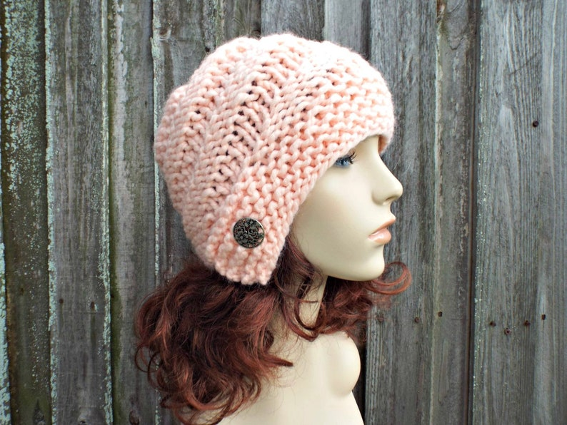 45d1dc4a7 Chunky Knit Hat Womens Hybrid Swirl Cloche Hat - Pale Peach Knit Hat -  Peach Hat Peach Beanie Peach Cloche Peach Winter Hat - READY TO SHIP