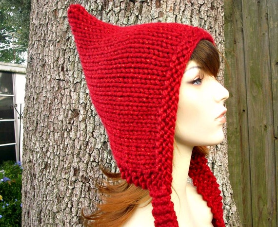 b467ce6759b ... Knit Hat Womens Hat - Red Pixie Hat in Metallic Poinsettia Red Knit Hat  - Red