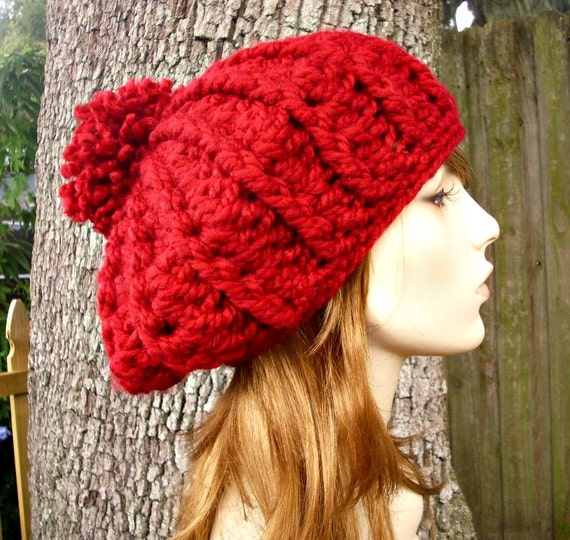 Crochet Hat Red Womens Hat - Oversized Nautilus Ribbed Beret Cranberry Red Pom Pom Crochet Hat - Red Hat Red Beret Womens Accessories