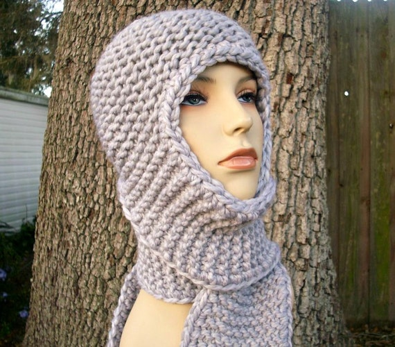Grey Womens Hat - Garter Nomad Hooded Scarf Hat Pewter Grey Knit Hat - Grey Scarf Grey Hat Grey Ear Flap Hat Womens Accessories Winter Hat