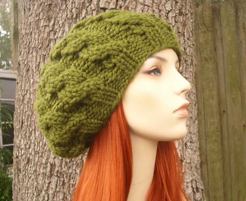 Olive Green Cable Beret Chunky Knit Hat Green Womens Hat  ce7f40b9fa8