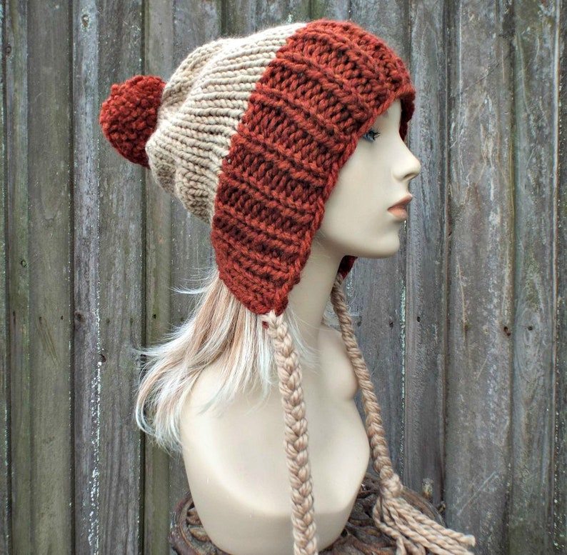 23989862a4f Chunky Knit Hat Womens Brown Rust Pom Pom Hat Slouchy Ear