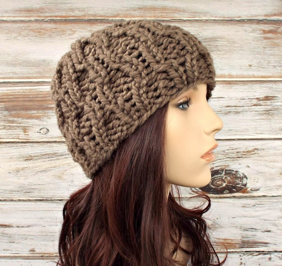 Knit Hat Womens Hat Amsterdam Beanie in Taupe Brown Knit Hat  8748e0c8252