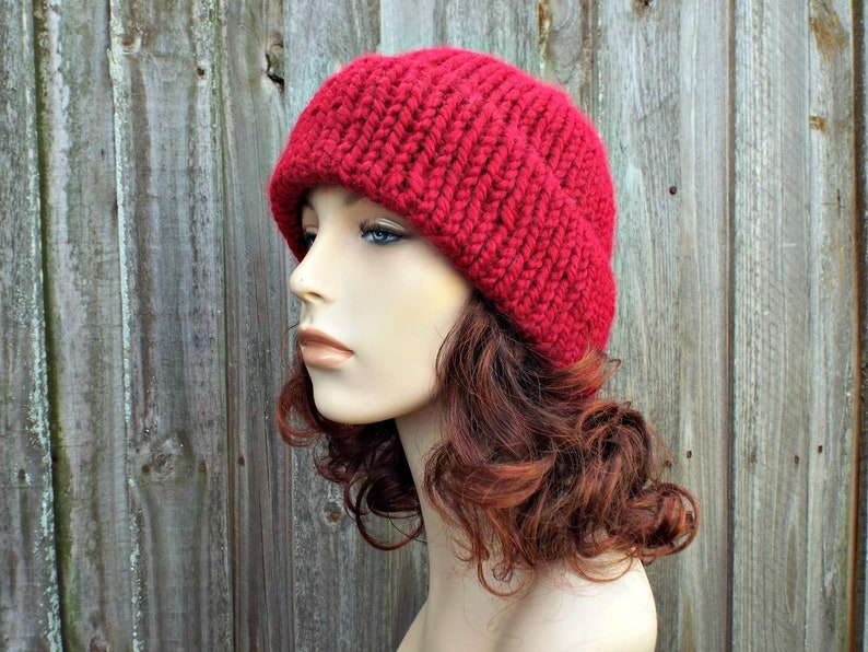 70c1dc04b08 Double Thick Brim Knit Hat Cranberry Red Mens or Womens Hat