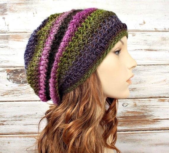 Womens Crochet Hat Womens Hat - Penelope Puff Stitch Slouchy Hat Purple Green Crochet Hat Purple Hat Womens Accessories