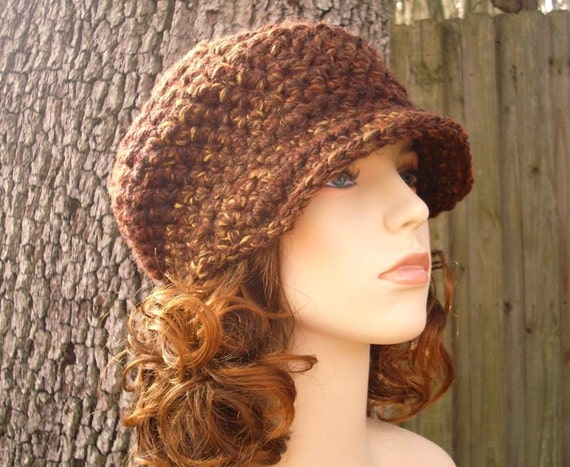 Crochet Hat Brown Womens Hat Brown Newsboy Hat - Jockey Cap in Sequoia Brown Crochet Hat - Brown Hat Brown Beanie Womens Accessories