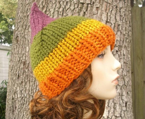 Rainbow Gnome Hat Autumn Sunrise Chunky Knit Hat Womens Hat - Orange Hat Orange Beanie Green Hat Green Beanie Womens Accessories Winter Hat