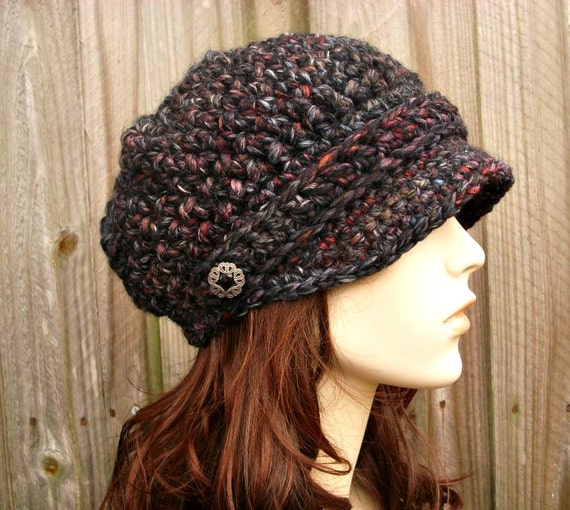 Crochet Hat Womens Hat Newsboy Hat - Crochet Newsboy Hat in Blackstone Charcoal Grey Red Wine Black Crochet Hat - Womens Accessories
