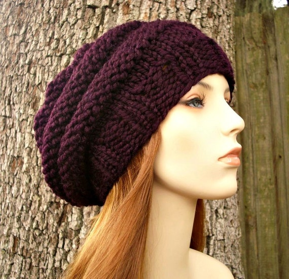 Knit Hat Womens Hat - Original Beehive Beret Hat in Eggplant Purple Knit Hat - Purple Hat Purple Beret Purple Beanie Womens Accessories
