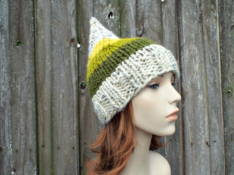 Striped Gnome Hat in Willow Trunk Chunky Knit Hat Womens Hat Green Gnome Hat Green Hat Green Beanie Knit Accessories Winter Hat