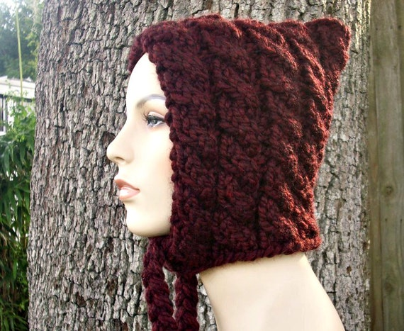 Red Womens Hat - Cable Pixie Hat in Oxblood Red Wine Merlot Chunky Knit Hat - Red Hat Red Pixie Hat Womens Accessories Winter Hat