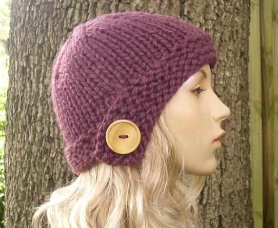 Purple Womens Hat - Cloche Hat Fig Purple Knit Hat - Purple Cloche Purple Hat Purple Beanie Womens Accessories Fall Fashion Winter Hat