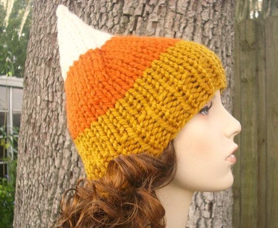 Candy Corn Hat Womens Hat - Gnome Hat Dark Candy Corn White Orange Yellow Knit Hat - Womens Accessories Winter Hat