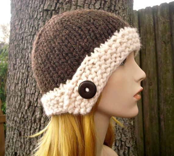 Brown Womens Hat - Brown Cloche Hat Java Bean Brown and Cream Knit Hat - Brown Hat Brown Beanie Womens Accessories - READY TO SHIP