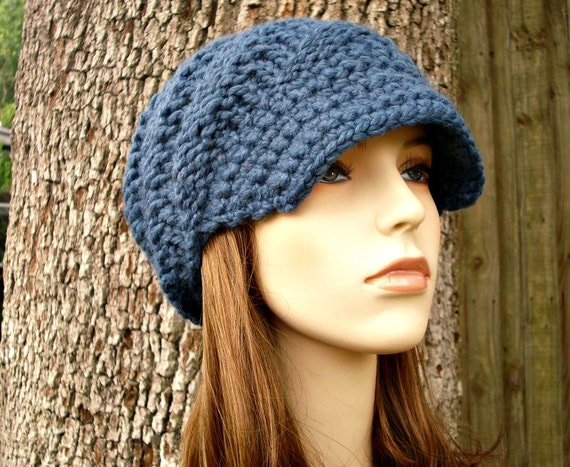 Knit Hat Blue Womens Hat Blue Newsboy Hat - Swirl Beanie with Visor in Denim Blue Knit Hat - Blue Hat Blue Beanie