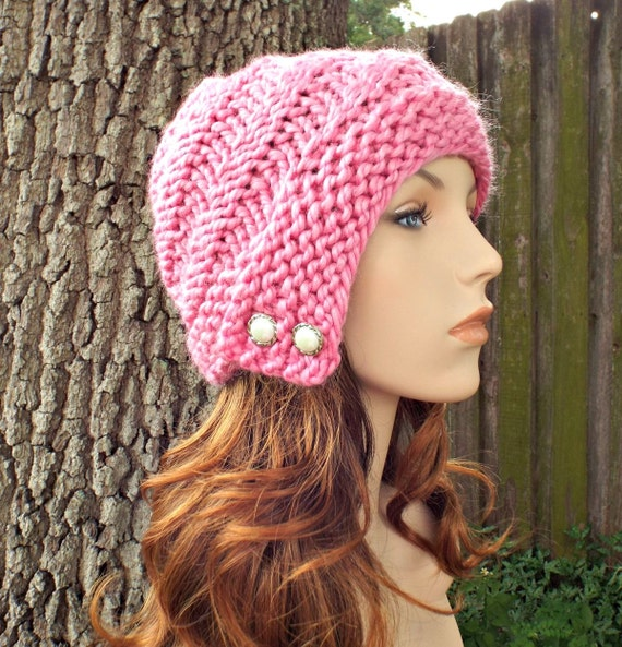 Pink Womens Hat - Hybrid Swirl Cloche Hat Bubble Gum Pink Knit Hat - Pink Hat Pink Cloche Pink Beanie Womens Accessories
