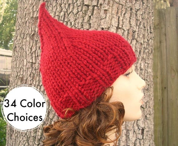 Knit Hat Womens Hat - Gnome Hat in Cranberry Red Knit Hat Womens Accessories Winter Hat