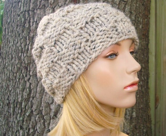 Chunky Knit Hat Womens Hat Mens Hat - Basket Weave Beanie Oatmeal Knit Hat - Oatmeal Hat Oatmeal Beanie Womens Accessories Winter Hat