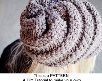 Instant Download Knitting Pattern - Knit Hat Pattern for Swirl Beanie Hat With and Without Visor - Knit Beanie Pattern Womens Accessories