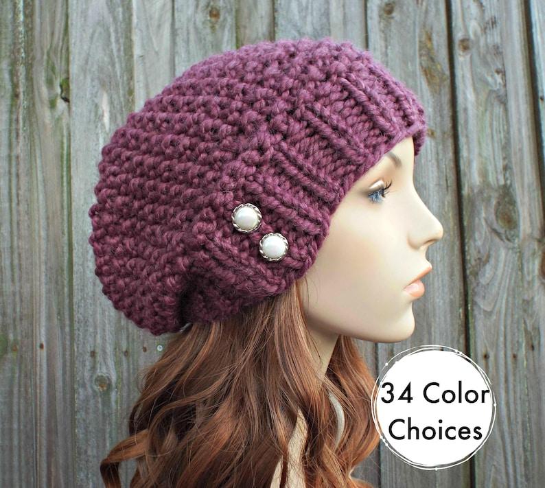 b1d4b01e8f7 Womens Chunky Knit Hat Seed Beret Fig Purple Slouchy Beanie