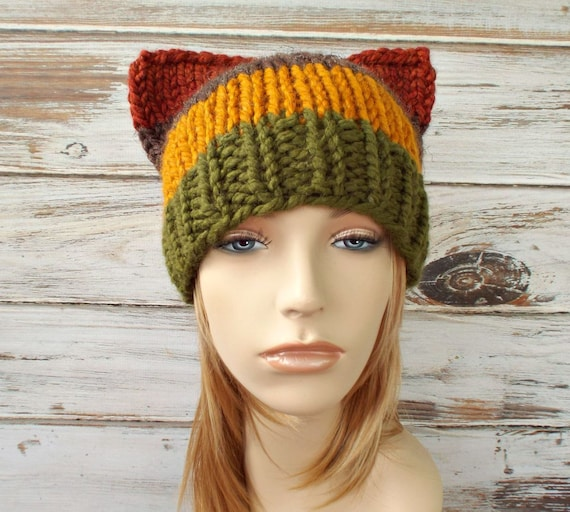 Knit Hat Womens Hat - Cat Beanie Hat in Color Block Hamlet Brown Mustard Green Rust Knit Hat - Womens Accessories Winter Hat