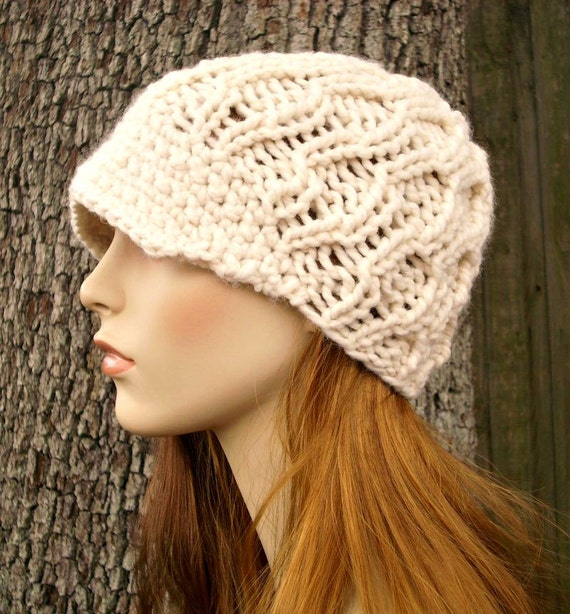 Knit Hat Womens Hat Cream Newsboy Hat - Amsterdam Cable Beanie with Visor in Cream Knit Hat - Cream Hat Womens Accessories Winter Hat