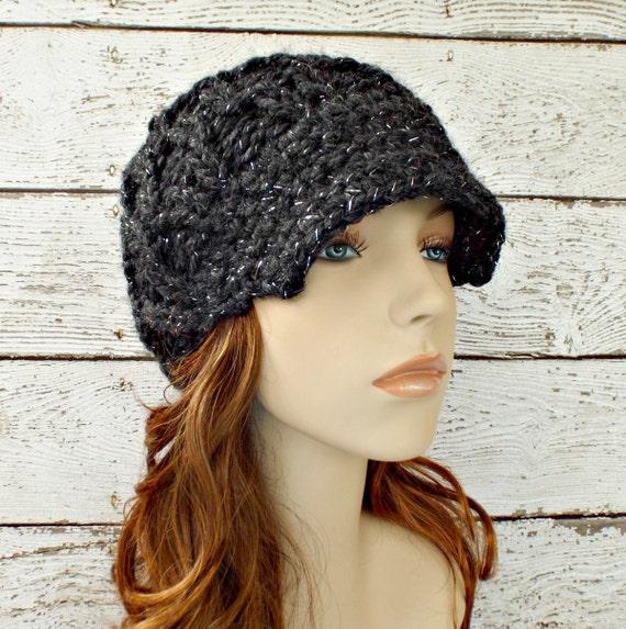 Grey Knit Hat Grey Womens Hat Grey Newsboy Hat - Amsterdam Cable Beanie Constellation Charcoal Grey Hat Grey Beanie