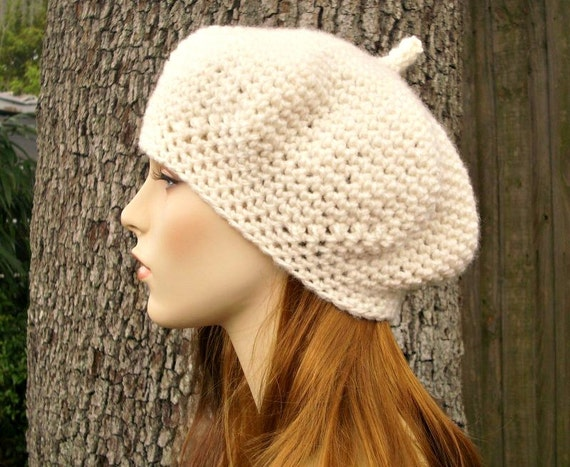 Crochet Hat Cream Womens Hat - Directors Beret in Fisherman Cream Crochet Hat - Cream Hat Cream Beret Cream Beanie Womens Accessories
