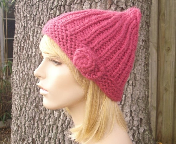 Knit Hat Womens Hat - Quinn Pink Gnome Beanie - Raspberry Pink Knit Hat - Pink Hat Pink Beanie Pink Gnome Hat Womens Accessories Winter Hat
