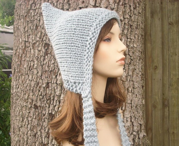 Stone Grey Pixie Hat Chunky Knit Hat Womens Hat - Grey Knit Hat - Grey Hat Grey Hood Grey Ear Flap Hat Womens Accessories Winter Hat